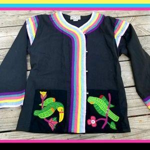 Vintage Rainbow Thai Embroidered Shirt Jacket
